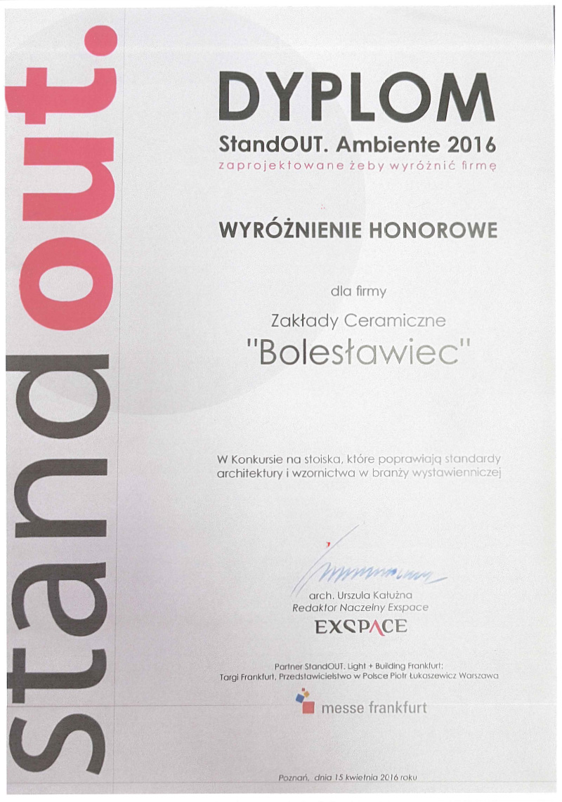 Diploma StandOUT. Ambiente 2016